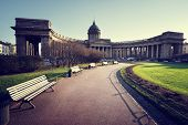 picture of sankt-peterburg  - Kazan Cathedral in sunset time - JPG