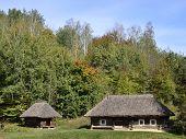 stock photo of kiev  - Old ukrainian houses in Pirogovo village near Kiev - JPG