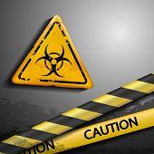stock photo of biohazard symbol  - biohazard symbol and warning tape - JPG