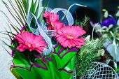 foto of wedding table decor  - Beautiful flowers on table in wedding day. wedding table flower decoration ** Note: Soft Focus at 100%, best at smaller sizes - JPG