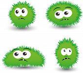 stock photo of amoeba  - Vector set of cartoon germs - JPG