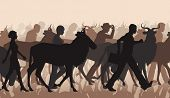 picture of wildebeest  - Cutout illustration of a mixed herd of wildebeest and people commuting or migrating - JPG