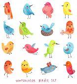 stock photo of cute  - Watercolor vector set of 16 cute birds - JPG