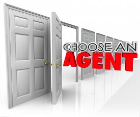 image of house representatives  - Choose an Agent 3d words coming out an open door encouraging you to pick the best agency to represent your business or sell your home in real estate - JPG
