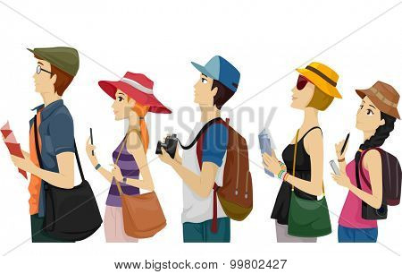 Illustration of a Group of Tourists Waiting on a Queue