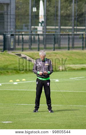 MONCHENGLADBACH, GERMANY - 26th AUGUST, 2015: Football coach Lucien Favre during training session of german football club VFL Borussia Monchengladbach.