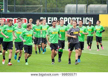 MONCHENGLADBACH, GERMANY - 26th AUGUST, 2015: Professional football players during training session of german football club VFL Borussia Monchengladbach.