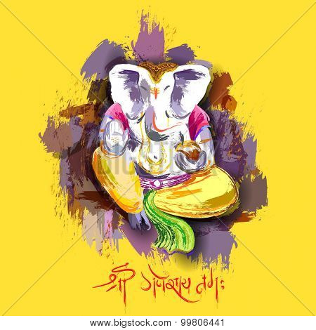 illustration of Lord Ganesha in paint style with message Shri Ganeshaye Namah ( Prayer to Lord Ganesha)