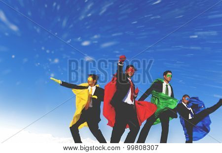 Businessmen Superheros Inspiration Leadership Success Concept