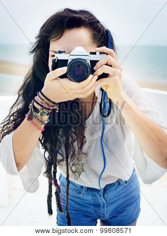 Pretty Photographer Woman Beach Vacation Lifestyle Concept