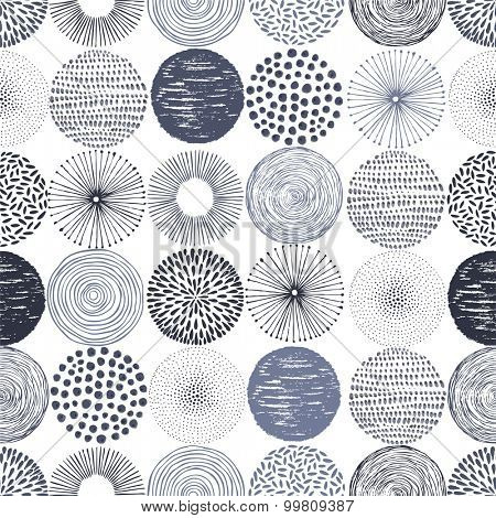 Seamless pattern with vector doodle circles texture, abstraction illustration.
