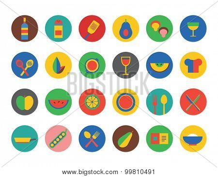 Food Icons set. Fruit, kitchen, food and drinks. Cup, eating and fork and spoon, vegetables, pot and natural food, vegan food. Milk, soup, wine, chef hat and coffee cup. Food icons