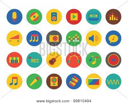 Music icons set. Sound, music tools and dj on party. Notes, musician song, record studio label. Cd, guitar and  microphone and headphone, piano. Volume chart, equalizer. Music logo. Music icons