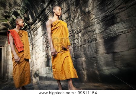 Culture Contemplating Monk Buddhism Traditional Concept