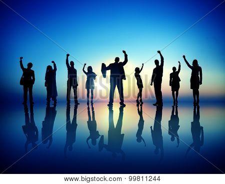Business People  Succesful Celebrating Winning Concept