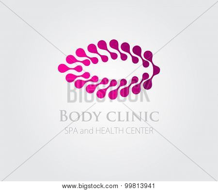 Vector illustration with abstract pink flower symbol. Logo design. For beauty salon, spa center, health clinic