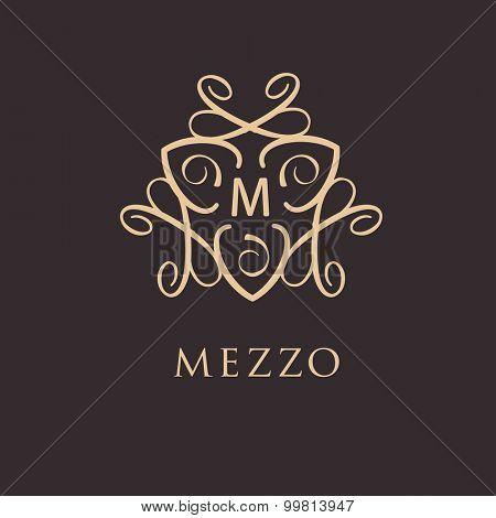 Retro vector illustration. Vintage style design monogram. Luxury logo for restaurant, boutique, spa, shop or other business