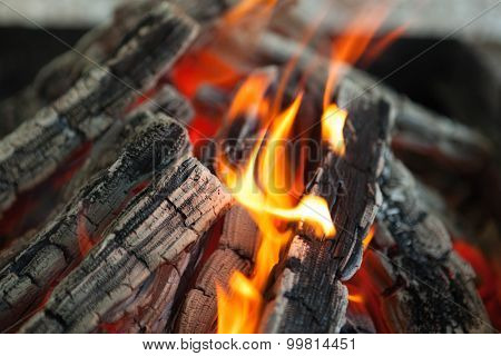 Beautiful fire with flames charred wood.