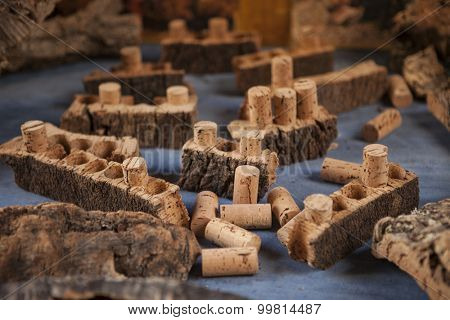 Cork bark and cork for wine.
