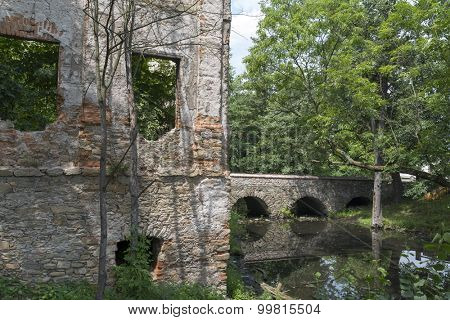 The ruins of an ancient castle from XIV century in Pankow. Lower Silesia, Poland