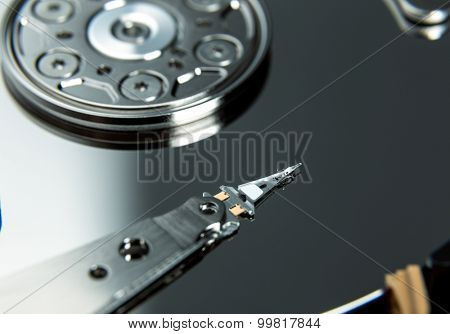 Close up of open computer hard disk drive HDD.