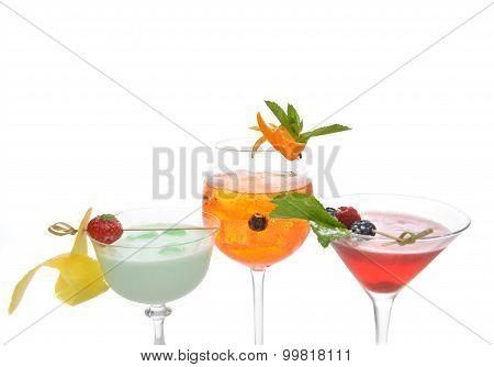 Green Red Orange Alcohol Margarita Martini Mojito Cocktails Collage Composition