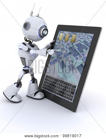 3D Render of an Robot with mobile tablet device