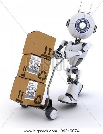 3D render of a Robot with shipping boxes