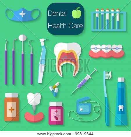 Dental Care Flat Design Vector Illustration With Dental Floss, Teeth, Mouth, Tooth Paste And Brush,