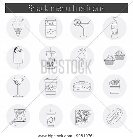 Snack Menu Line Icons Set Vector Illustration Of Food, Drink, Coffee, Hamburger, Pizza, Beer, Cockta