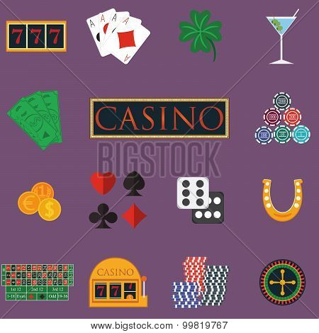Casino And Gambling Icons Set With Slot Machine And Roulette, Chips, Poker Cards, Money, Dice, Coins