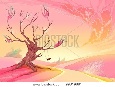 Romantic landscape with tree and sunset. Vector illustration