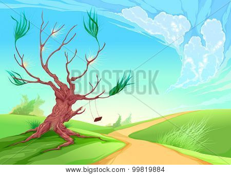 Romantic landscape with tree. Vector illustration