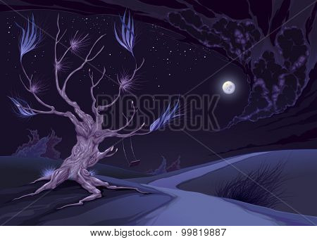 Nightly landscape with tree. Vector illustration