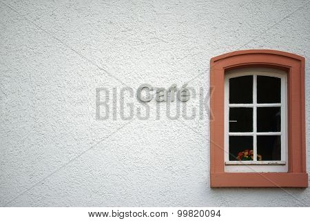Cafe with flowers in the window