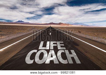 Life Coach written on desert road