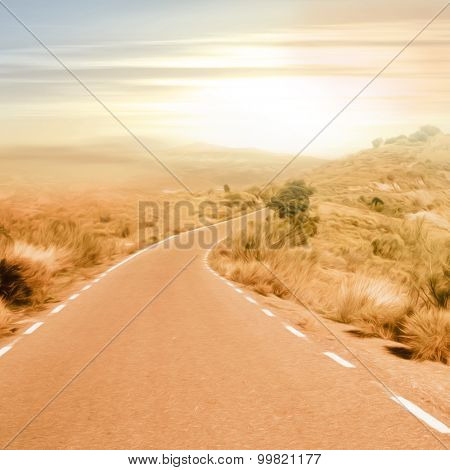 Country road with curve in rolling hills - picture in vintage style with soft oil paint filter