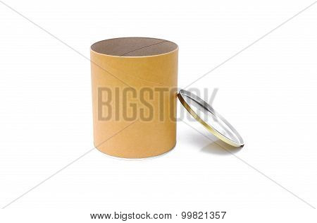 Open Cylinder Tube Container on Isolated