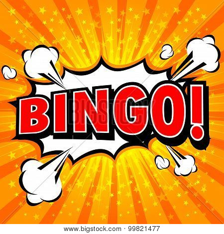Bingo! Comic Speech Bubble, Cartoon.