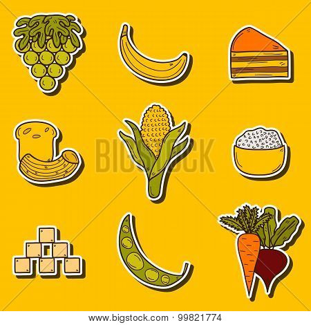 Set of stickers with products prohibited during paleo diet in hand drawn cartoon style: corn, cake,