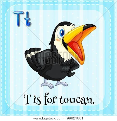 Alphabet T is for toucan illustration