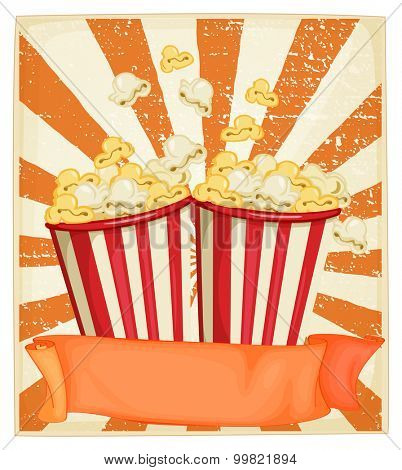 Popcorn in cups with banner illustration