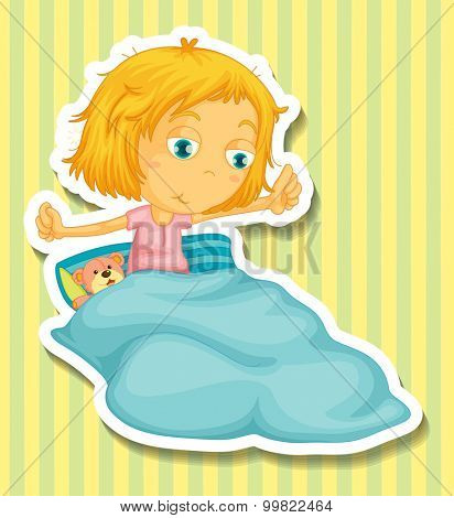 Little girl in bed waking up illustration