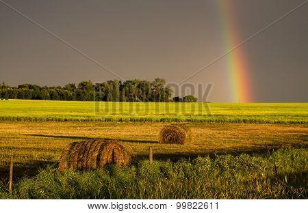 Storm Clouds Prairie Sky Rainbow