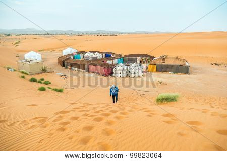 Tent camp for tourists in sand dunes of Erg Chebbi, Morocco