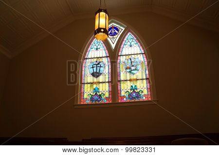 Ceiling Light and Stained Glass Window