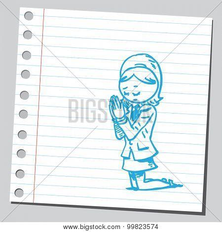 Businesswoman praying