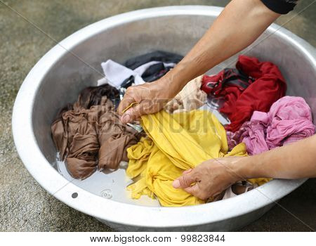 Hands Wash Stain Of Dirty Clothes