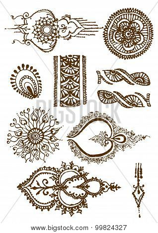 vector illustration mehendy, henna tattoo isolated in white background
