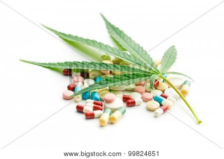 the cannabis leaf and medicaments